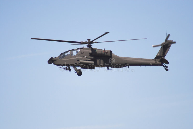 Apache helicopter in flight. At an airshow royalty free stock image