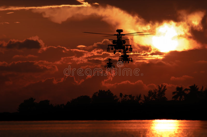 Apache helicopter formation royalty free stock photos