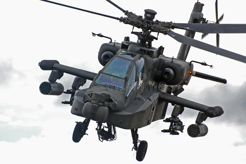 Apache helicopter. Is looking straight into the camera stock photo
