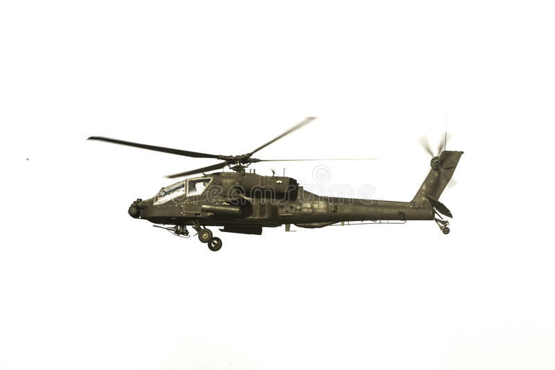 Apache Helicopter Over White royalty free stock images