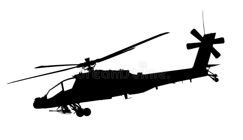 Apache helicopter. Vector illustration of apache helicopter silhouette isolated on white background - high quality illustration stock illustration