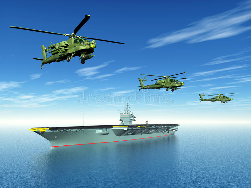 Apache Helicopters And Aircraft Carrier Stock Illustration
