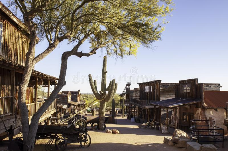 Apache Junction, Arizona, USA 04/25/2019 The Goldfield Ghost town stock photos