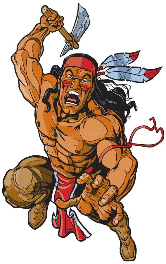 Apache-Krieger des amerikanischen Ureinwohners, der mit Kriegsbeil angreift lizenzfreie abbildung