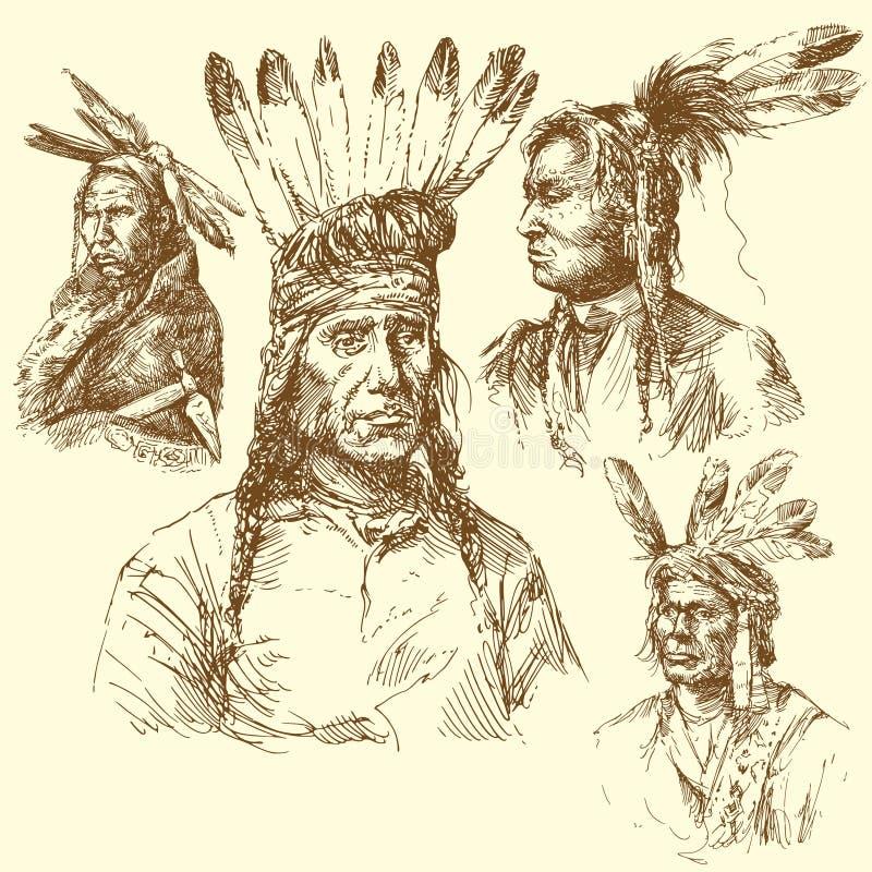 Apache portrait vector illustration