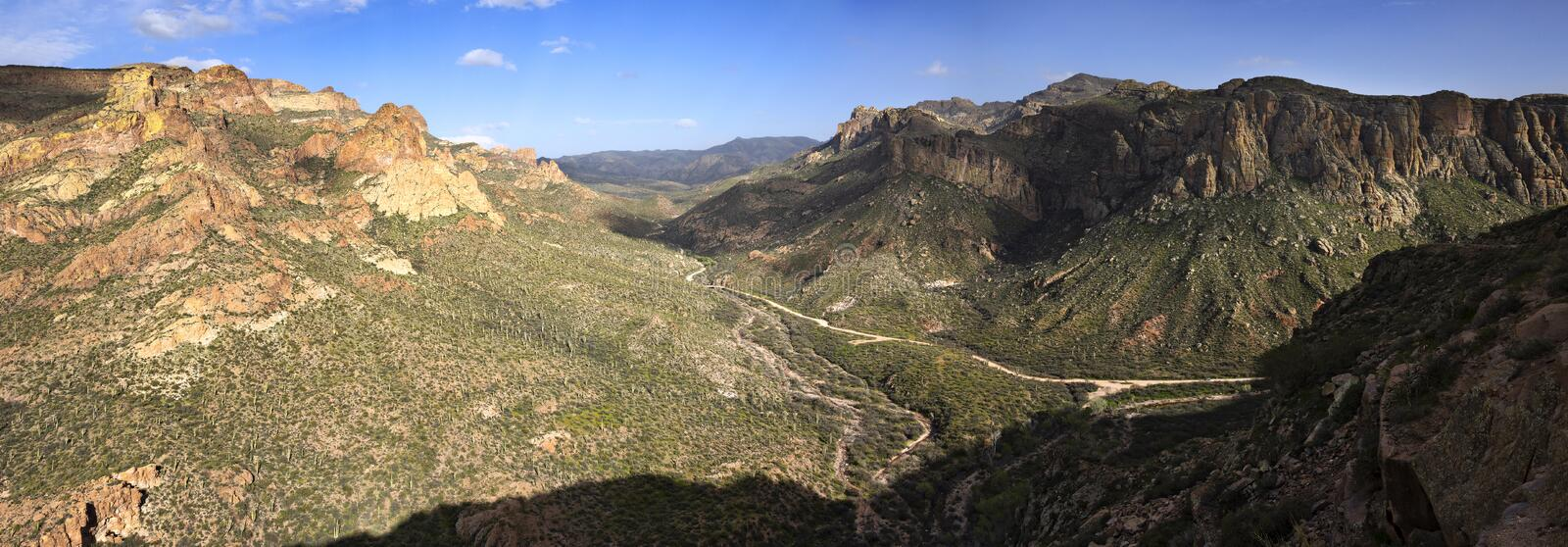 Apache Trail. Panorama of Buttes and Saguaros along Apache Trail in Arizona royalty free stock photo