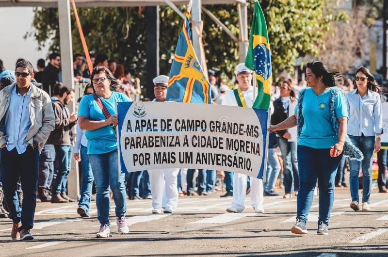 APAE, welches die Stadt von Campo groß - Mitgliedstaat, Brasilien beglückwünscht stockbild