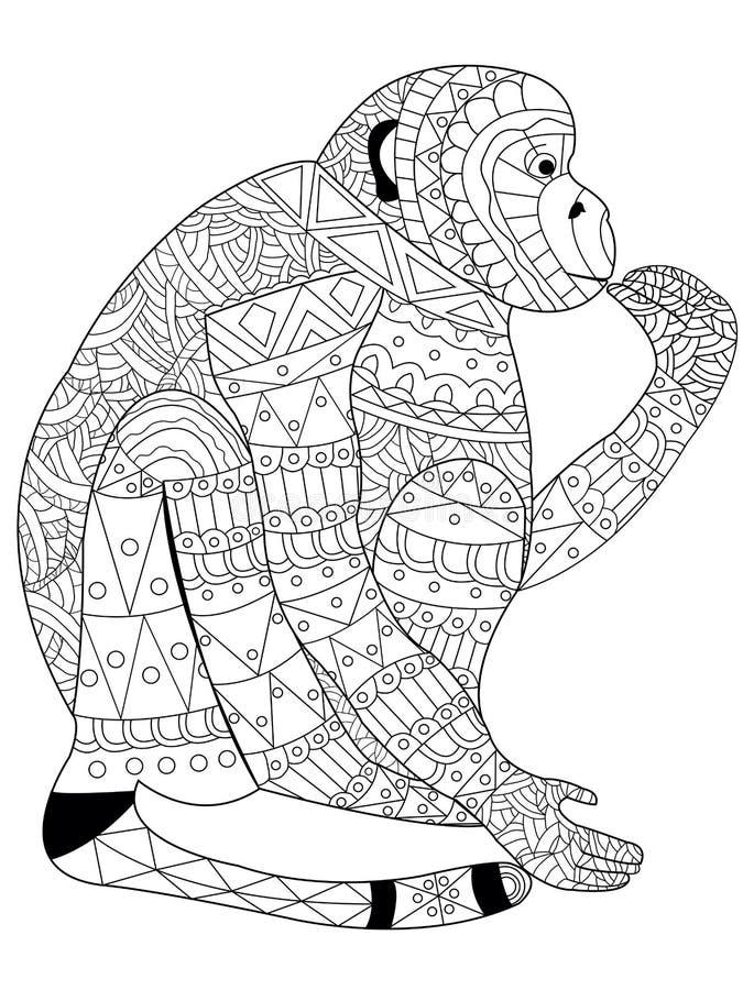 Apafärgläggningvektor för vuxna människor royaltyfri illustrationer