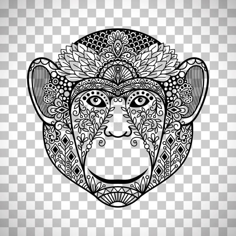 Apaframsida med etniska motiv vektor illustrationer
