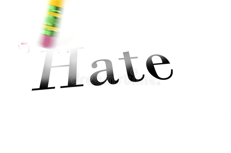 Apagando o ódio com eliminador de lápis imagens de stock royalty free