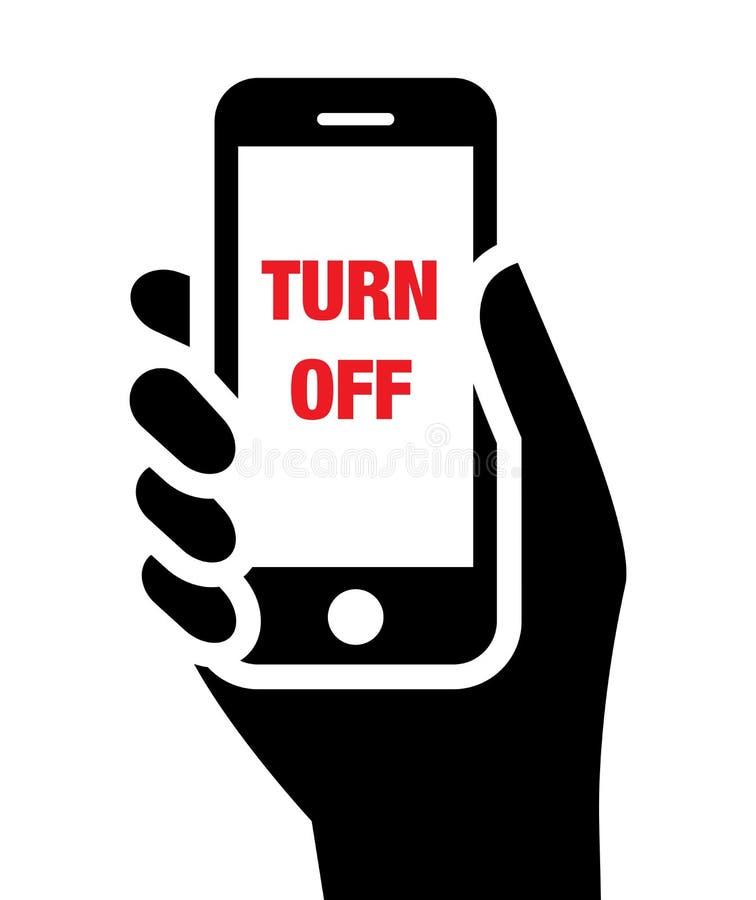 Apague el icono de los teléfonos móviles stock de ilustración