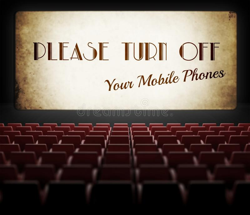 Apague por favor la pantalla de cine de los teléfonos celulares en cine viejo libre illustration