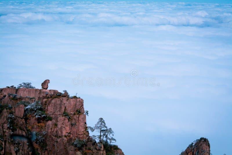 Apan ser moln efter snö på monteringen Huang arkivfoton