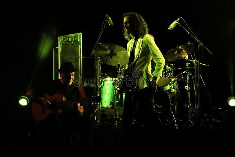 Aparência de um músico distinto ao estilo cabelo de Seattle Estados Unidos Kenny G no Prambanan Jazz imagem de stock