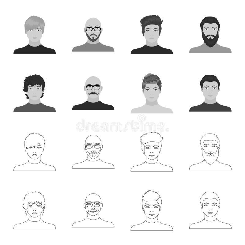 A aparência do indivíduo novo, a cara de um homem calvo com um bigode em seus vidros Grupo da cara e da aparência ilustração royalty free