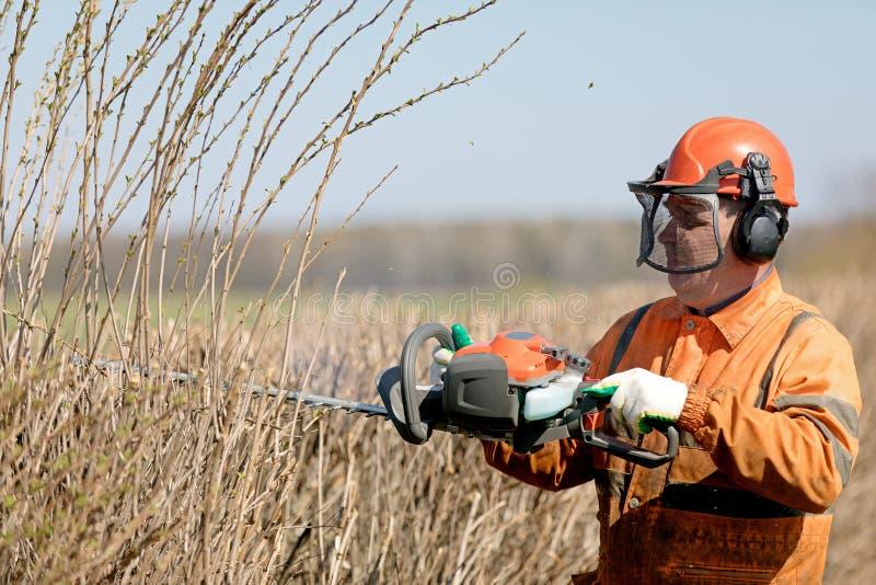 Aparamento da conversão e serviços de poda O Landscaper profissional Worker Cutting Hedgerows com gás pôs tesouras fotos de stock