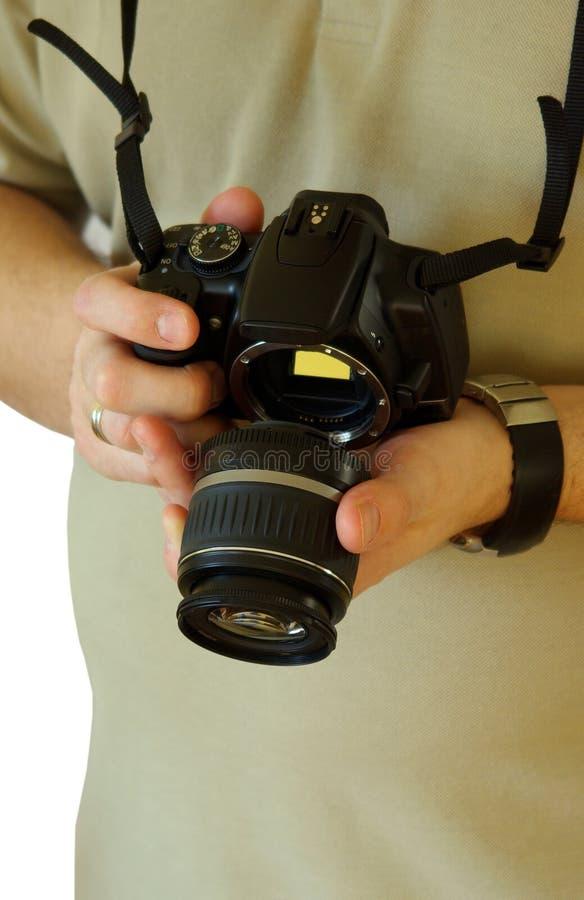 aparat cyfrowy soczewek zmienić obraz stock