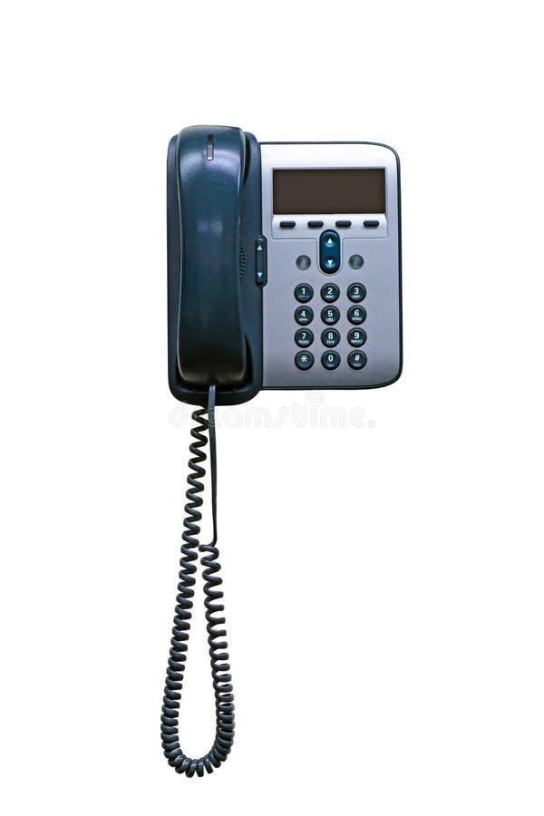Aparato de teléfono del IP de la oficina con el LCD grande aislado en el backg blanco imagen de archivo libre de regalías