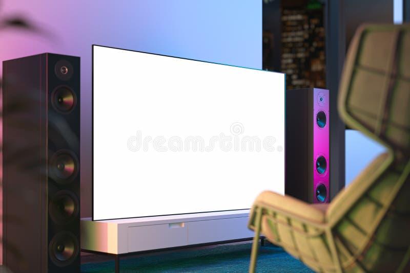 Aparato de TV blanco grande del espacio en blanco con el espacio de la copia en el armario blanco en el interior moderno, represe libre illustration