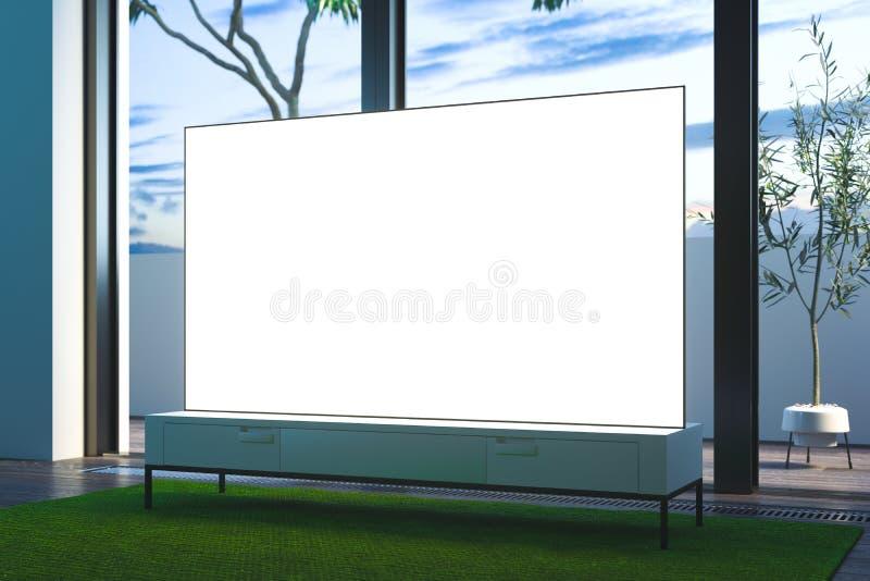 Aparato de TV blanco grande del espacio en blanco en el armario blanco en el mirador, representación 3d libre illustration