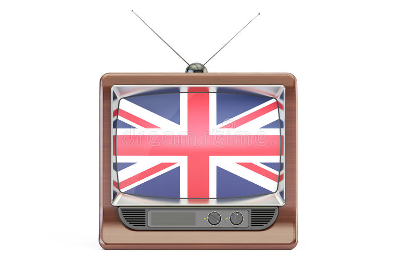 Aparato de TV con la bandera de Reino Unido Concepto británico de la televisión, libre illustration