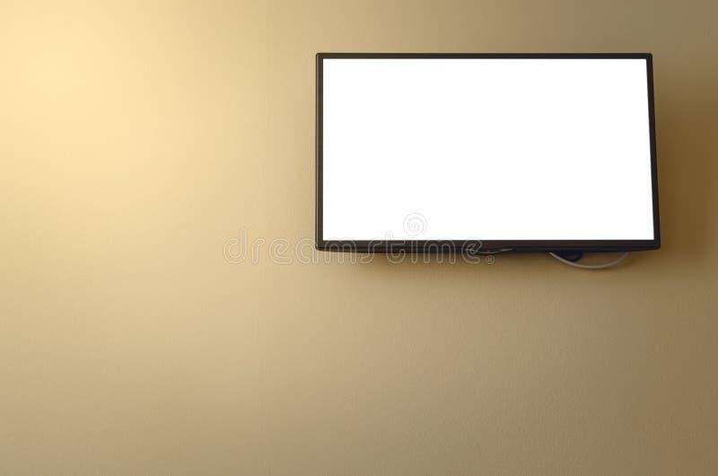 Aparato de TV con pantalla grande con la pantalla en blanco fotografía de archivo libre de regalías