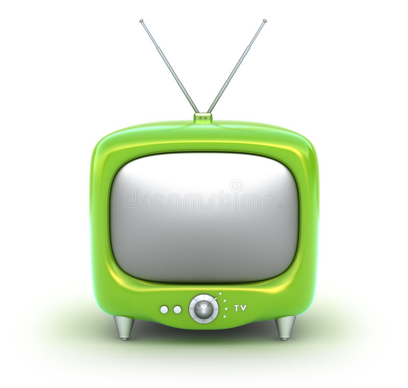 Aparato de TV Retro verde. Aislado en el fondo blanco. ilustración del vector