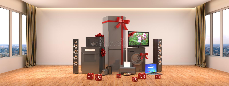 Aparatos electrodomésticos Cocina de gas, cine de la TV, refrigerador, microonda, stock de ilustración