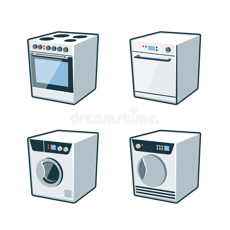 Aparatos electrodomésticos 2 - cocina, lavaplatos, secador, lavadora libre illustration