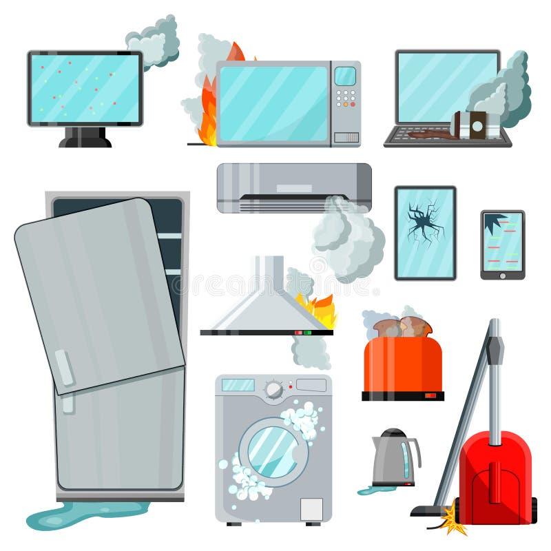 Aparatos electrodomésticos de los productos electrónicos de consumo planos modernos con diversos daños, sistema del vector Teléfo ilustración del vector