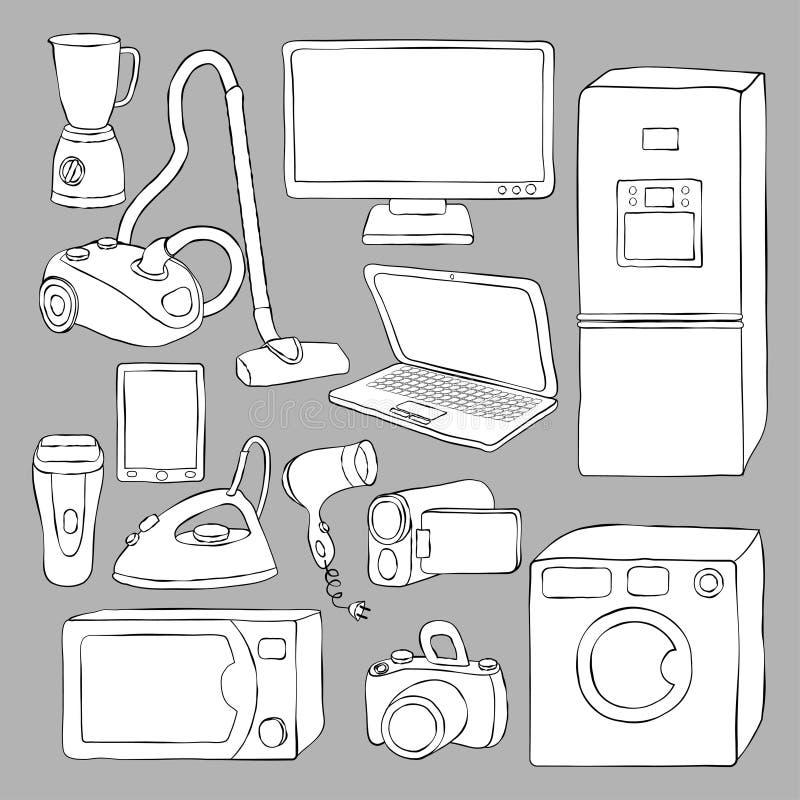 Aparatos electrodomésticos e iconos de la electrónica ilustración del vector