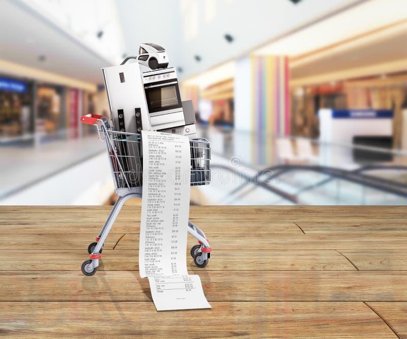 Aparatos electrodomésticos en el comercio electrónico del carro de la compra o el shoppi en línea imagen de archivo libre de regalías