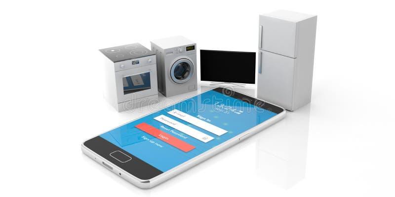 Aparatos electrodomésticos fijados y teléfono móvil aislado en el fondo blanco ilustración 3D ilustración del vector