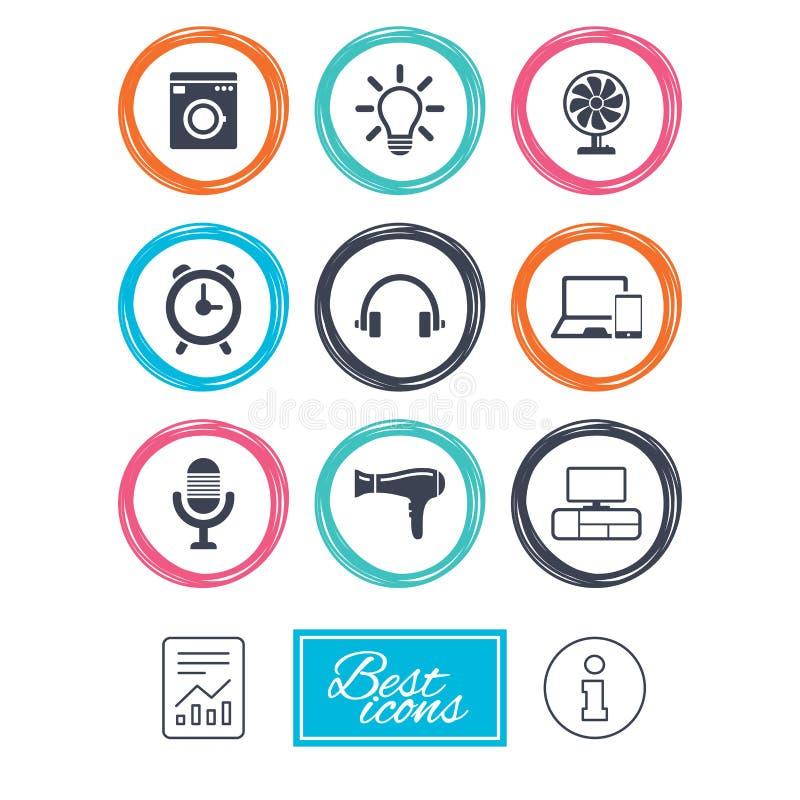 Aparatos electrodomésticos, iconos del dispositivo Muestra del ventilador libre illustration