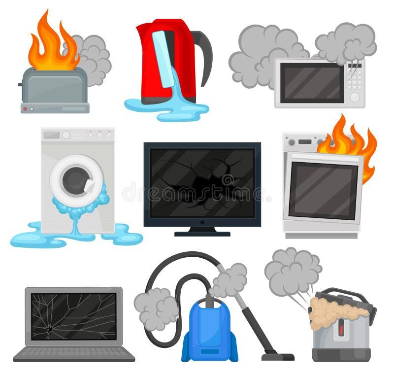 Aparatos electrodomésticos quebrados fijados, ejemplos eléctricos dañados del vector del equipo de hogar en un fondo blanco stock de ilustración
