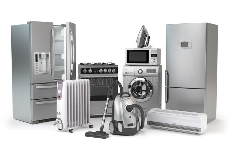Aparatos electrodomésticos Sistema de técnicas de la cocina del hogar aislado en w libre illustration