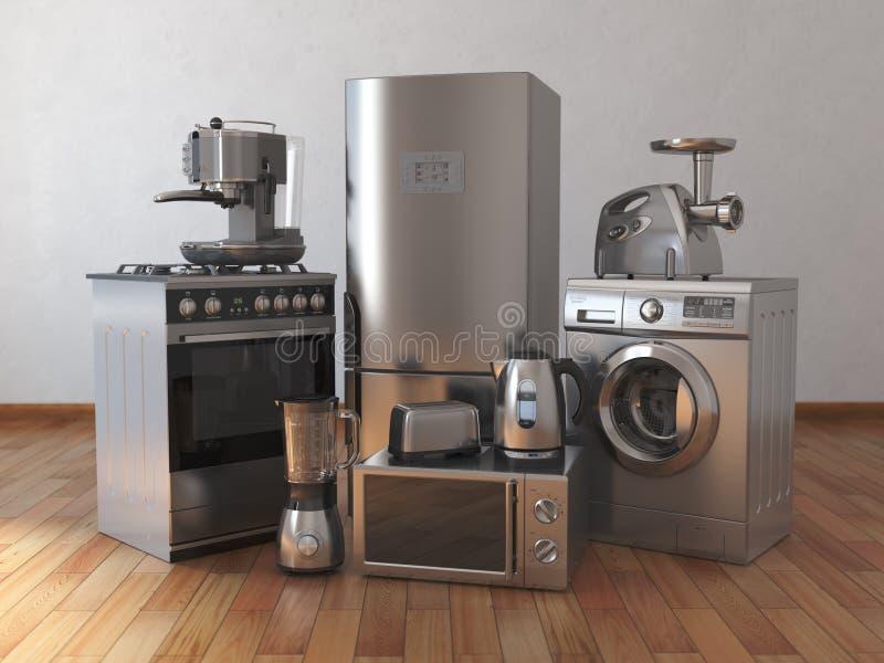 Aparatos electrodomésticos Técnicas de la cocina del hogar en el cuarto vacío stock de ilustración