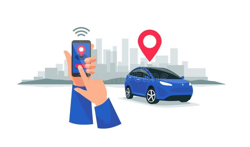 Aparcamiento conectado que comparte el servicio accionado por control remoto vía el App de Smartphone libre illustration