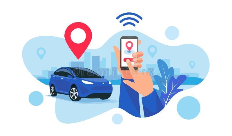 Aparcamiento conectado que comparte el servicio accionado por control remoto vía el App de Smartphone ilustración del vector