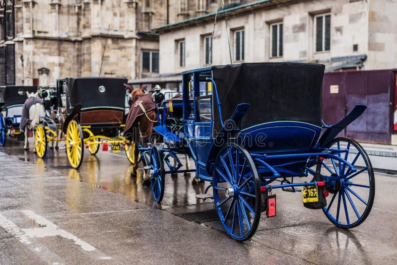 Aparcamiento de los carros del caballo en Viena imagen de archivo