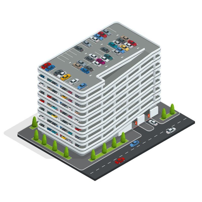 Aparcamiento de varios pisos Aparcamiento isométrico de la ciudad Servicio de estacionamiento urbano del coche ilustración del vector