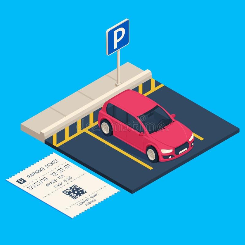Aparcamiento isométrico del transporte Boleto del espacio de aparcamiento de la entrada, ejemplo urbano del vector del garaje del libre illustration