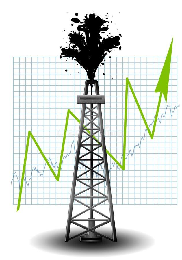 Aparejo de la perforación petrolífera con la flecha de la carta ilustración del vector