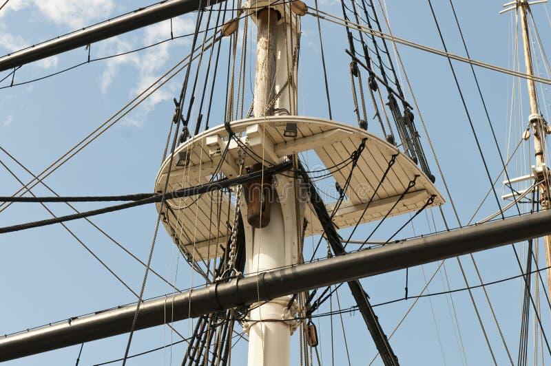 Aparejo del mástil y del barco de vela fotografía de archivo