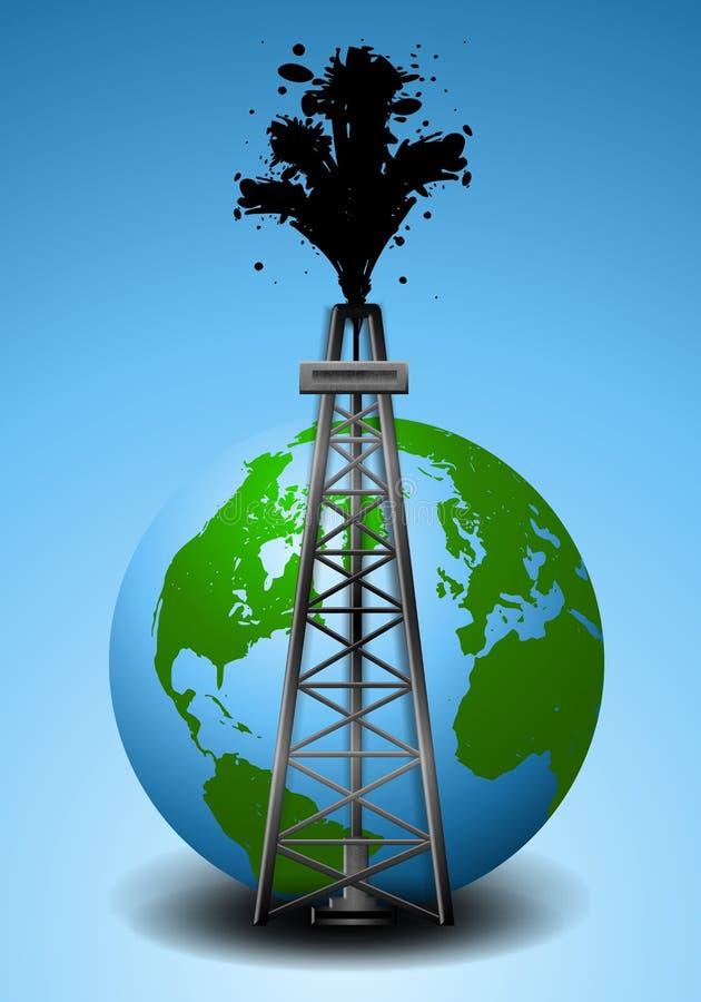 Aparejo y tierra de la perforación petrolífera ilustración del vector