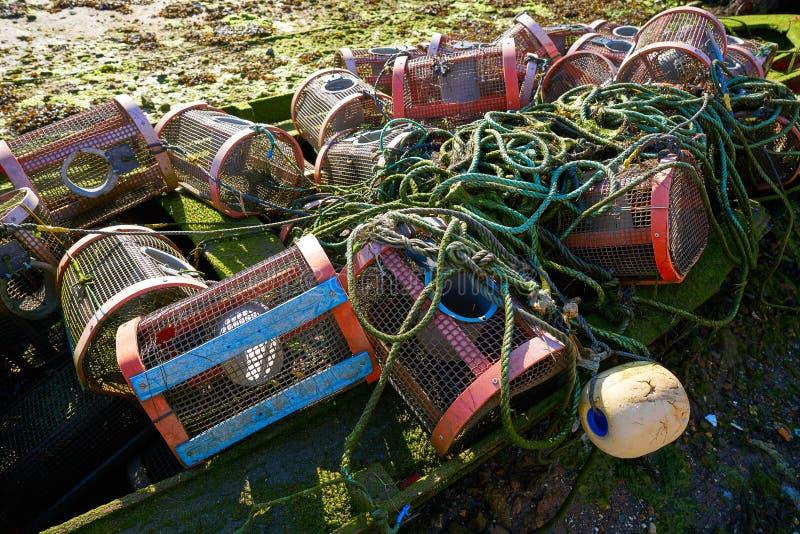 Aparejos de pesca de Combarro de barcos en Pontevedra fotografía de archivo libre de regalías