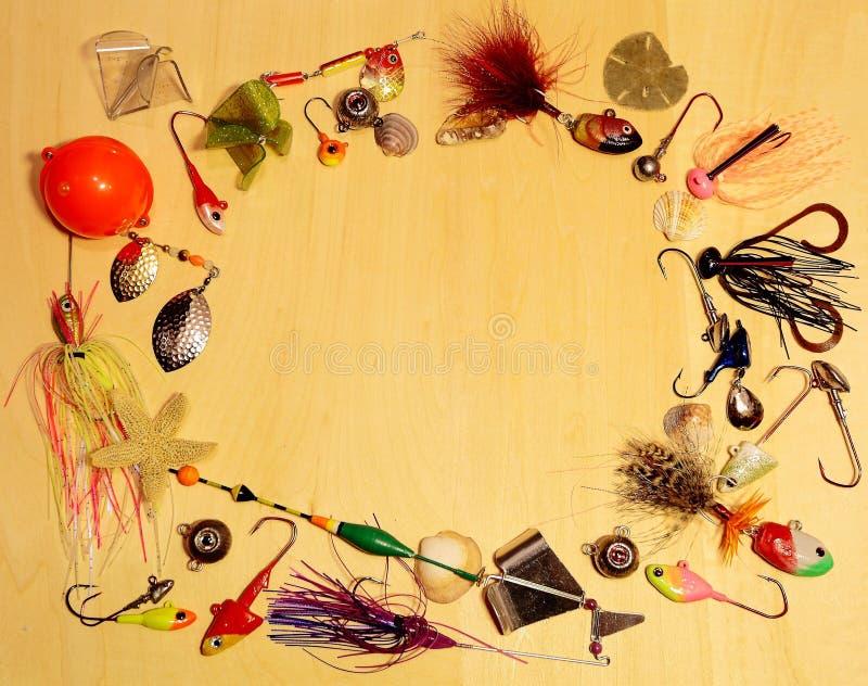 Aparejos de pesca hechos a mano en el fondo blanco fotos de archivo libres de regalías