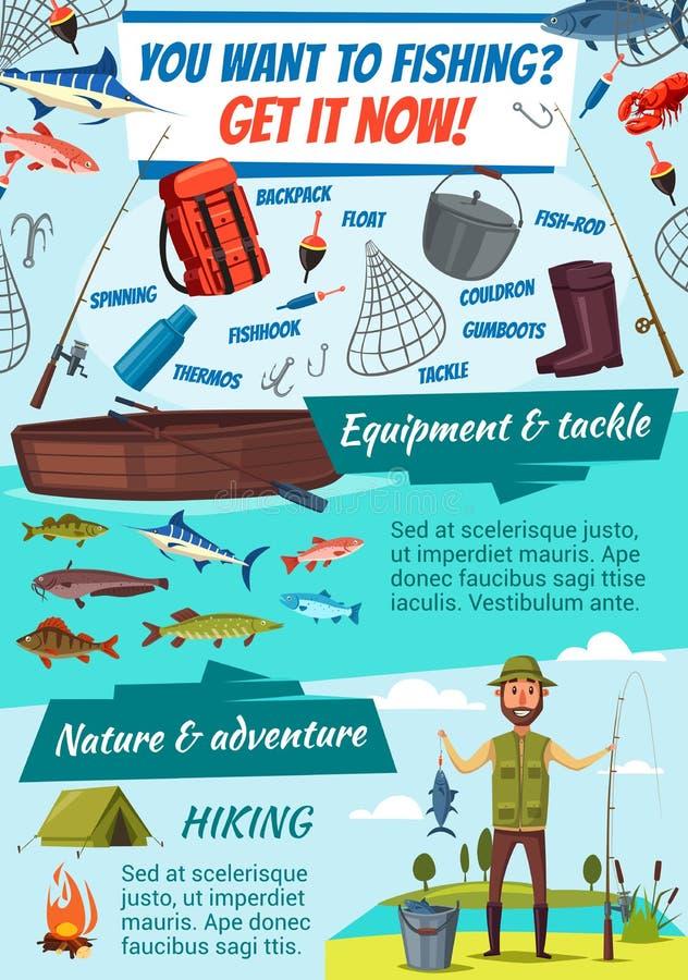 Aparejos de pesca y pescador, vector de la captura de pescados stock de ilustración