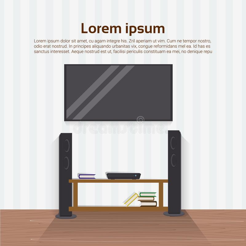 Aparelho de televisão conduzido realístico na parede no design de interiores home moderno da sala de visitas ilustração do vetor