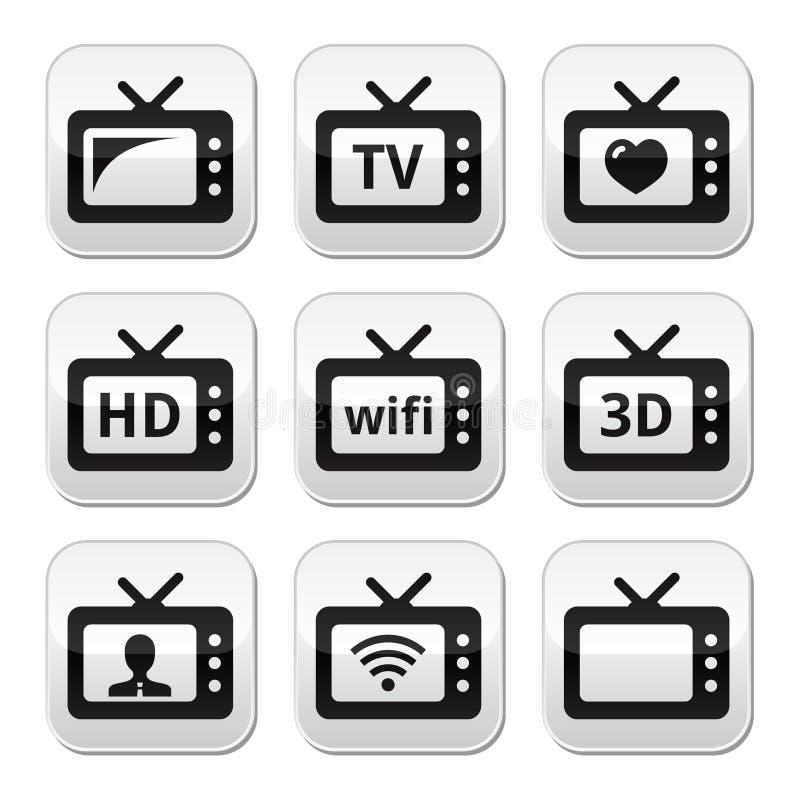 Aparelho de televisão, 3d, botões de HD ilustração stock
